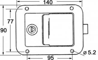 SERRURE INOX A CONDAMNAT. 140 X 90 MM